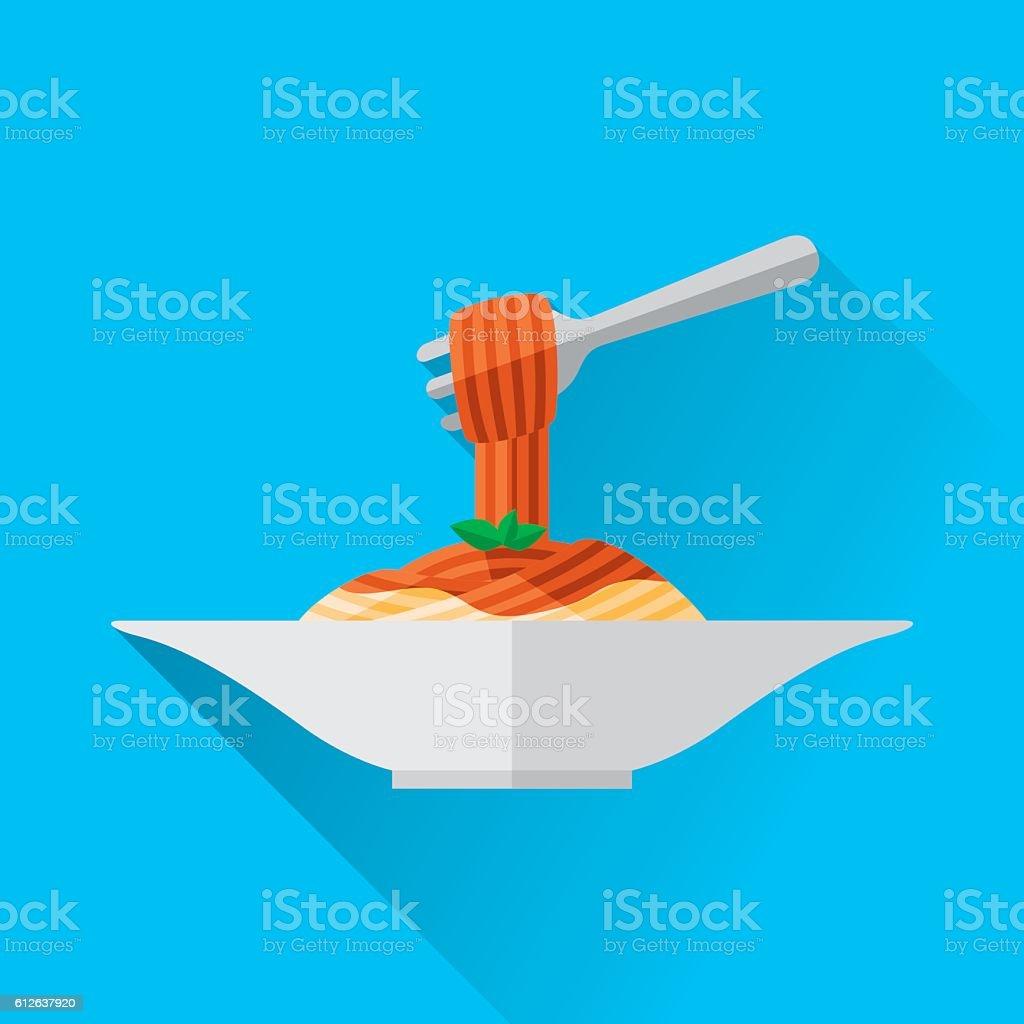 Spaghetti  - arte vettoriale royalty-free di Basilico