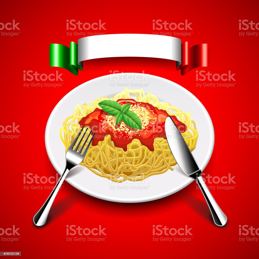 spaghetti with cutlery and italian flag on red background vector art illustration