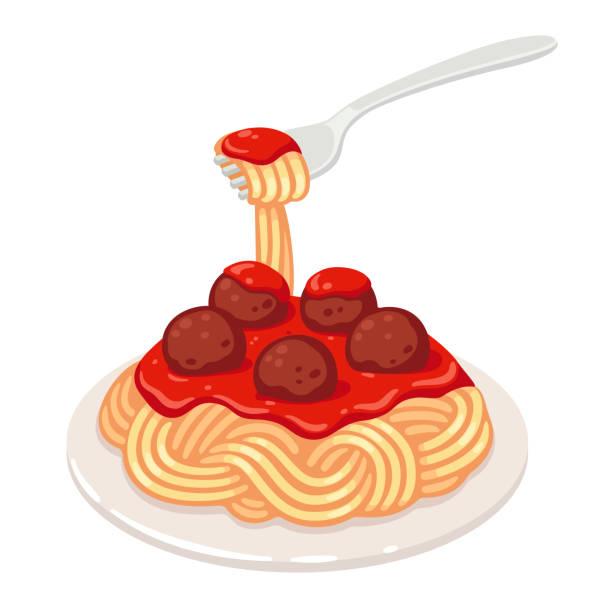 Spaghetti with meatballs Spaghetti with tomato sauce and meatballs. Classic pasta dish vector clip art illustration. spaghetti stock illustrations