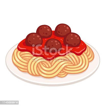 Cartoon plate of spaghetti with meatballs and tomato sauce. Classic pasta dish, isolated vector illustration.