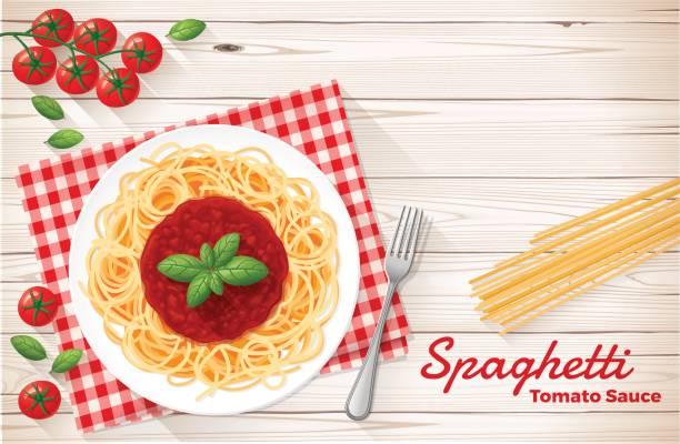 ilustraciones, imágenes clip art, dibujos animados e iconos de stock de spaghetti con salsa de tomate y albahaca - comida cruda