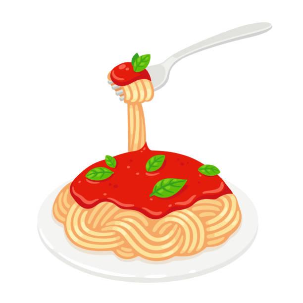 Spaghetti with tomato sauce Spaghetti with tomato sauce and basil. Classic Italian pasta dish vector clip art illustration. tomato sauce stock illustrations