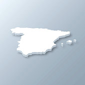 3D map of Spain isolated on a blank and gray background, with a dropshadow. Vector Illustration (EPS10, well layered and grouped). Easy to edit, manipulate, resize or colorize.