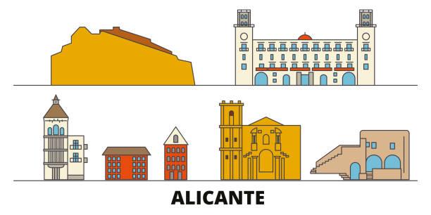 spanien, alicante flachlandmarken vektorabbildung. spanien, die stadt alicante mit berühmten reiseansichten, skyline, design. - alicante stock-grafiken, -clipart, -cartoons und -symbole