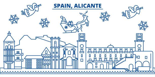 spanien, alicante winter skyline der stadt. frohe weihnachten, frohes neues banner mit santa claus.winter gruß leitungskarte verziert. flach, umriss vektor. lineare weihnachten schnee abbildung - alicante stock-grafiken, -clipart, -cartoons und -symbole