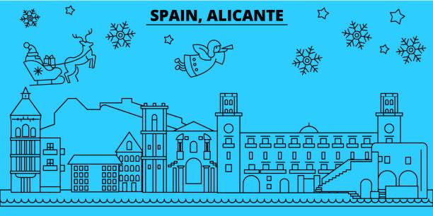 spanien, alicante winter urlaub skyline. merry christmas, happy new year dekoriert banner mit santa claus.spain, alicante lineare weihnachten stadt flach vektorgrafik - alicante stock-grafiken, -clipart, -cartoons und -symbole