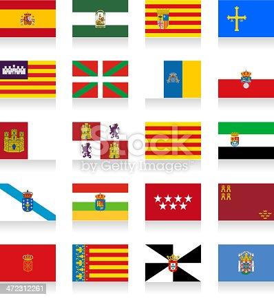 Spain Autonomous Communities Flag Collection, contains:  From left to right:  1. Spain, Andalusia, Aragon, Asturias  2. Baleric Islands, Basque, Canary Islands, Cantabria  3. Castille-La Mancha, Castile and Leon, Catalonia, Extremadura  4. Galicia, La Rioja, Madrid, Murcia  5. Navarre, Valencia, Ceuta, Melilla  Eps8 file.