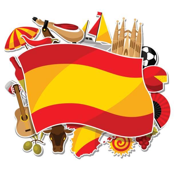 スペインの背景デザイン。スペインの伝統的なステッカー シンボルとオブジェクト - スペイン料理点のイラスト素材/クリップアート素材/マンガ素材/アイコン素材