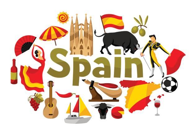 スペインの背景デザイン。スペインの伝統的なシンボルとオブジェクト - スペイン料理点のイラスト素材/クリップアート素材/マンガ素材/アイコン素材