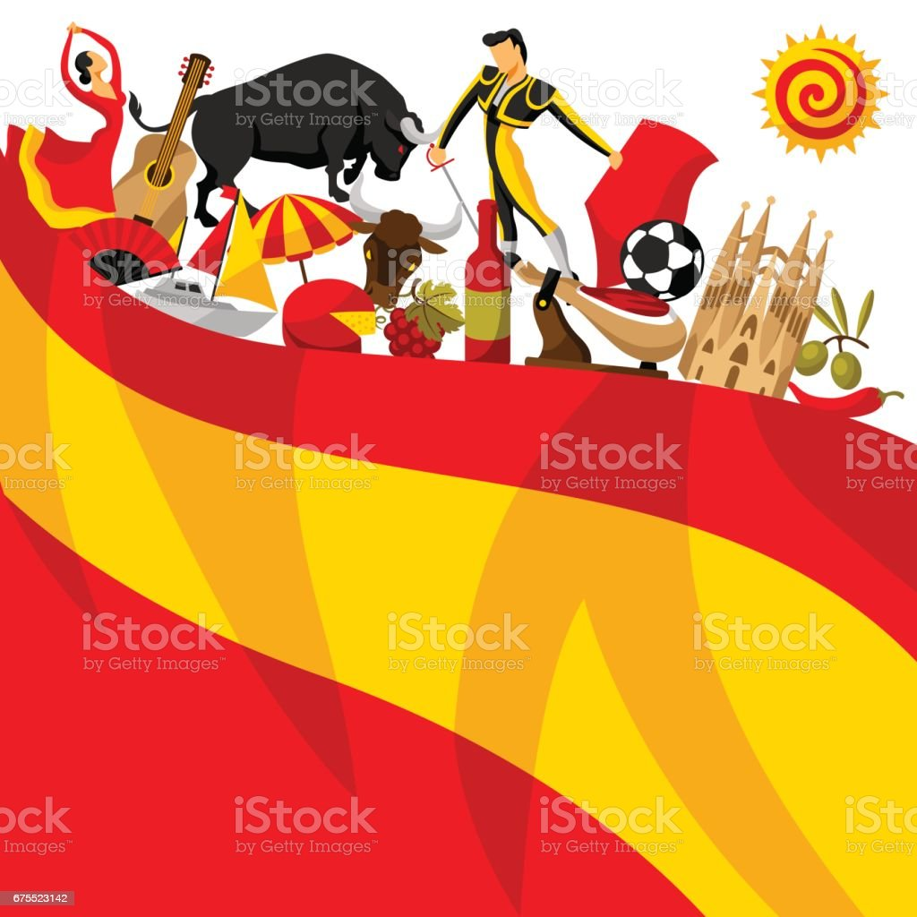 Spain background design. Spanish traditional symbols and objects vector art illustration