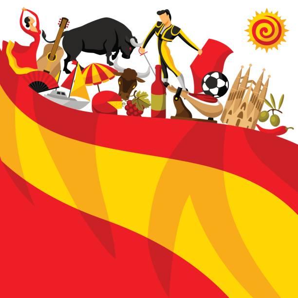 Design de fond Espagne. Objets et symboles traditionnels espagnols - Illustration vectorielle
