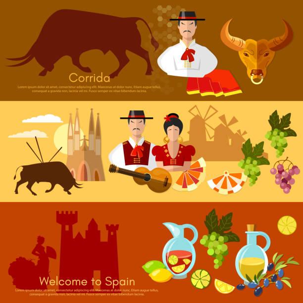 ilustraciones, imágenes clip art, dibujos animados e iconos de stock de spain banner traditions and culture spanish - comida española