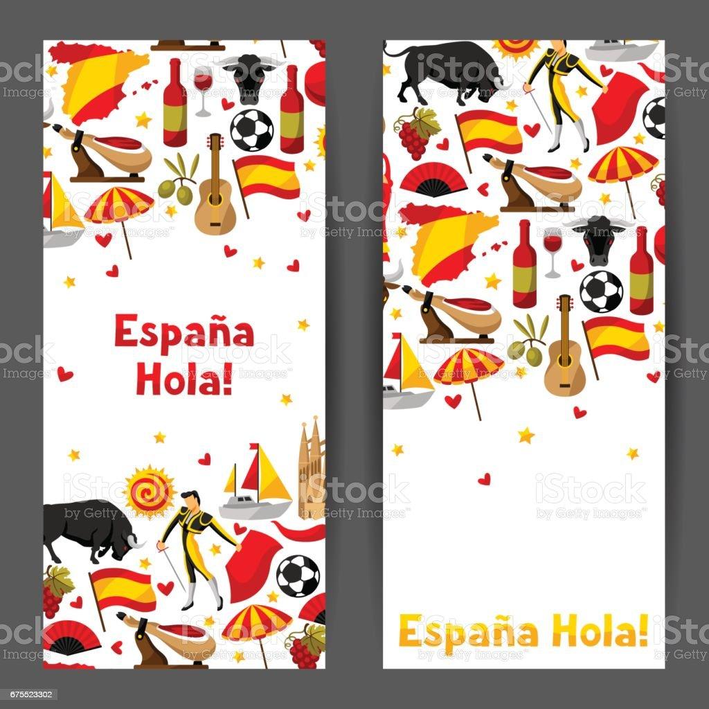 Diseño de banners de España. Objetos y símbolos tradicionales españoles - ilustración de arte vectorial