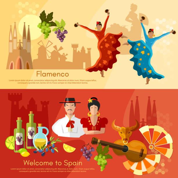 hiszpania banery tradycji i kultury, atrakcji hiszpańskiej - kastaniety stock illustrations