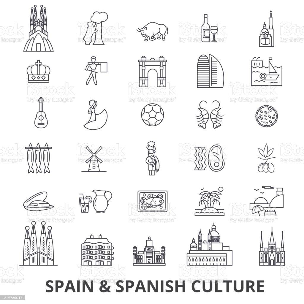 España, barcelona, madrid, español, flamenco, los iconos de línea Mediterráneo. Movimientos editables. Plano vector ilustración símbolo de concepción. Signos lineales aisladas - ilustración de arte vectorial