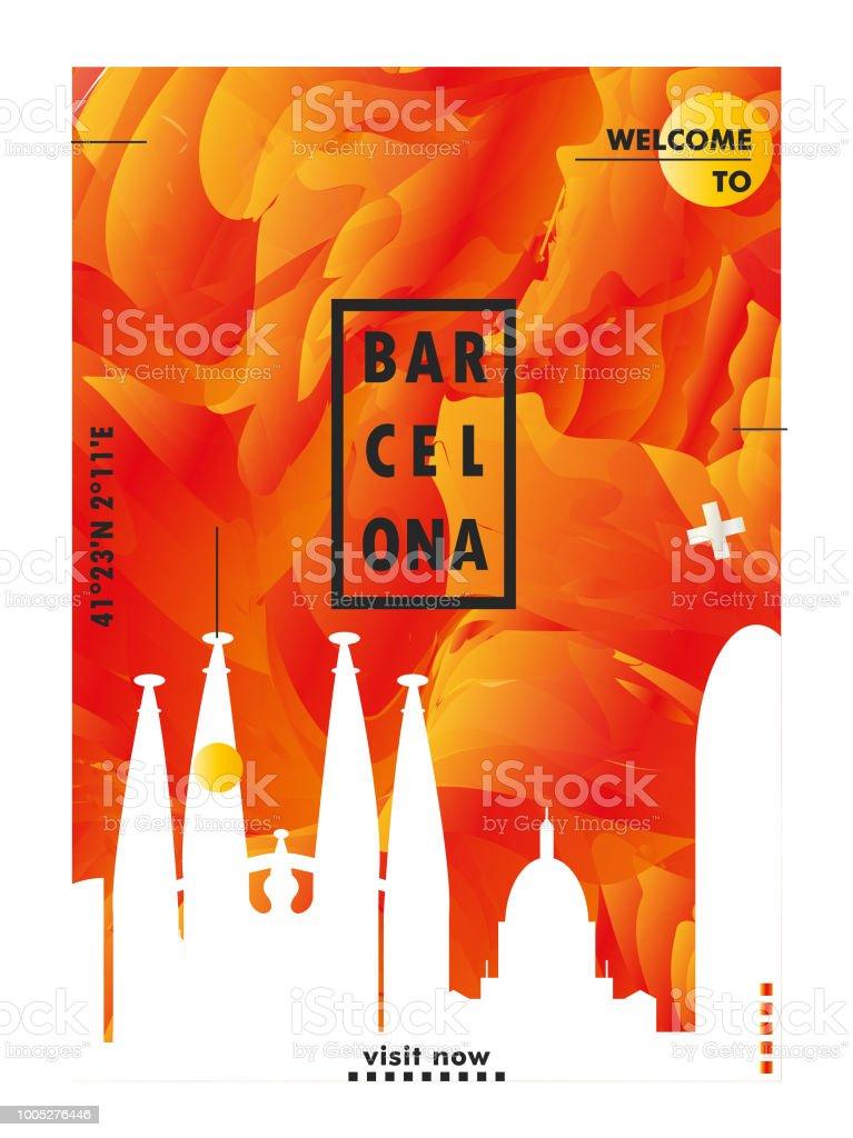 Cartel de España Barcelona skyline ciudad vector gradiente - ilustración de arte vectorial