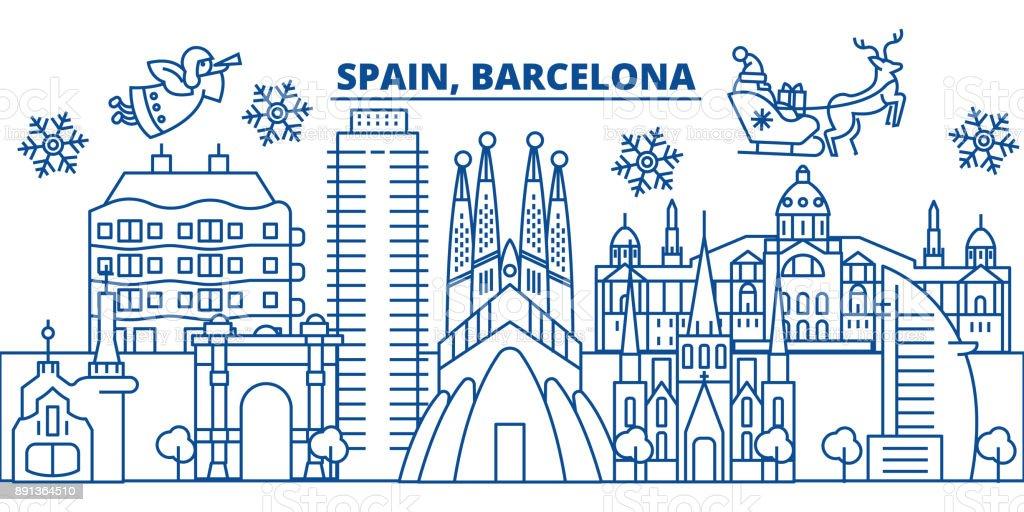 España, horizonte de la ciudad de invierno de Barcelona. Feliz Navidad, feliz año nuevo decorado banner con Santa Claus.Winter tarjeta de línea de saludo. Vector plano, de contorno. Ilustración linear de nieve de Navidad - ilustración de arte vectorial