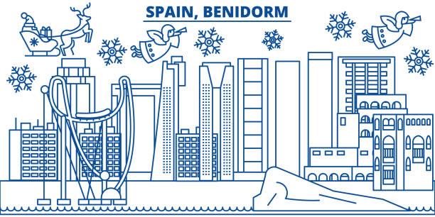 spanien, benidorm winter skyline der stadt. frohe weihnachten, frohes neues banner mit santa claus.winter gruß leitungskarte verziert. flach, umriss vektor. lineare weihnachten schnee abbildung - alicante stock-grafiken, -clipart, -cartoons und -symbole