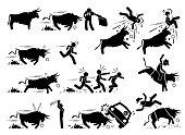 Spain bullfight and bull run event pictogram icons.