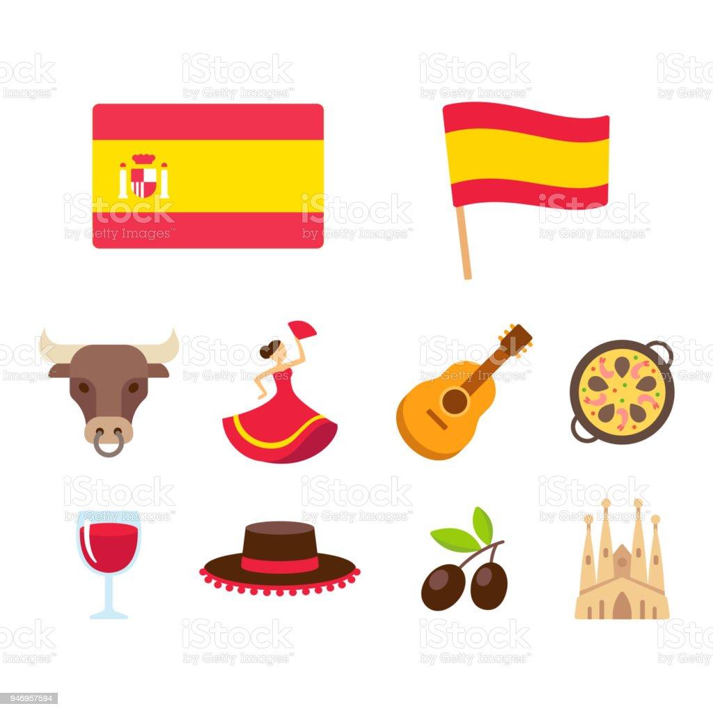 Conjunto de iconos de dibujos animados de España - ilustración de arte vectorial