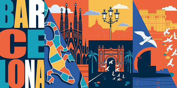 Spain, Catalonia vector skyline illustration, postcard. Travel to Barcelona modern flat graphic design element