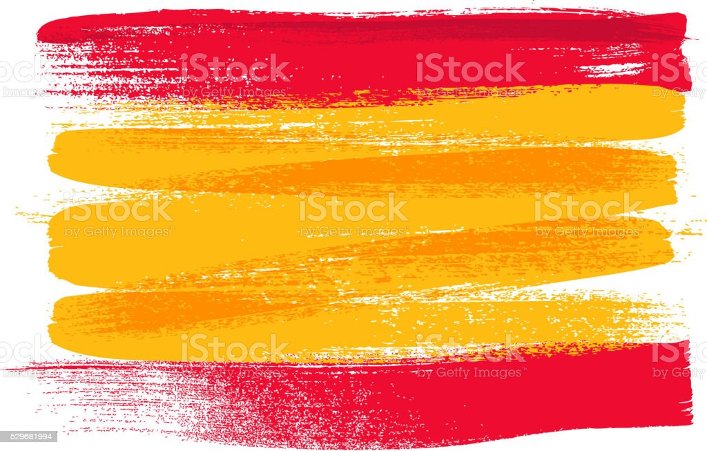 Spain colorful brush strokes painted flag vector art illustration