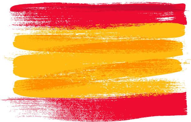 spanien bunte mit pinselstrichen gemalte flagge - spanien stock-grafiken, -clipart, -cartoons und -symbole