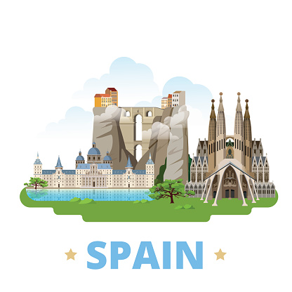 Spain country flat cartoon style historic sight showplace web vector illustration. World travel Europe collection. Ronda Bridge El Escorial Monastery Sagrada Familia Gaudi Basilica Temple Holy Family.