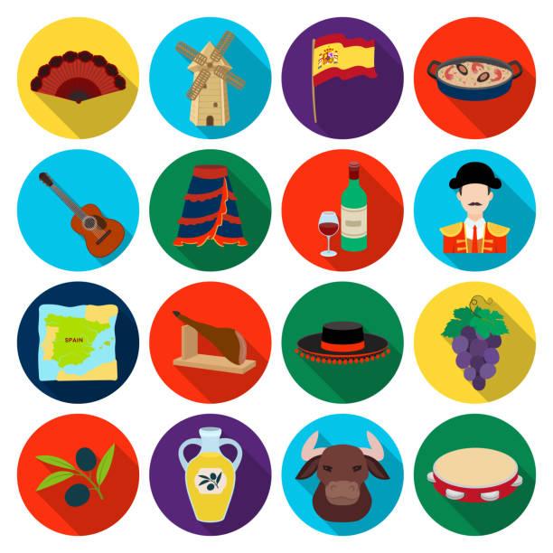 stockillustraties, clipart, cartoons en iconen met spanje land plat pictogrammen in set collectie voor design. reizen en bezienswaardigheden vector symbool voorraad web illustratie. - tamboerijn