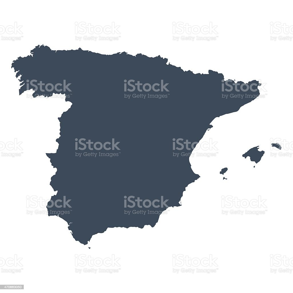 Spain country map vector art illustration