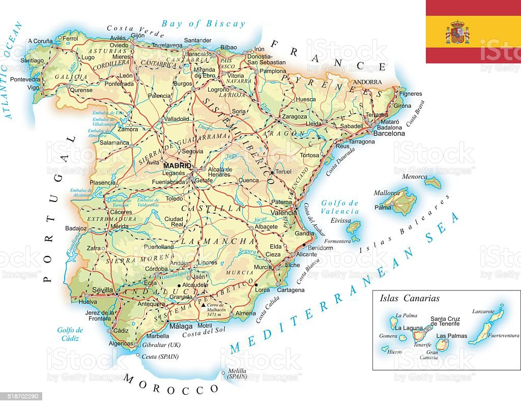 Spain Detailed Topographic Map Illustration Stock Vector Art More