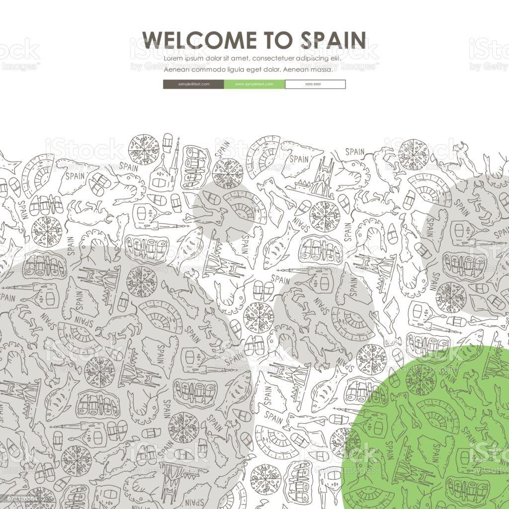 España Plantilla De Sitio Web Diseño Doodle - Arte vectorial de ...