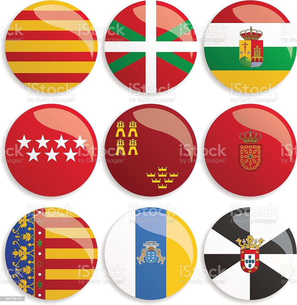 Spain Flag Buttons royalty-free stock vector art