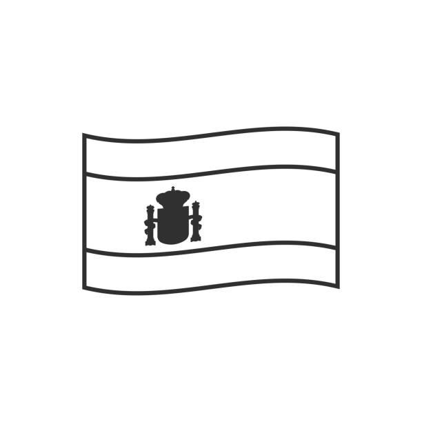 Spain flag icon in black outline flat design vector art illustration
