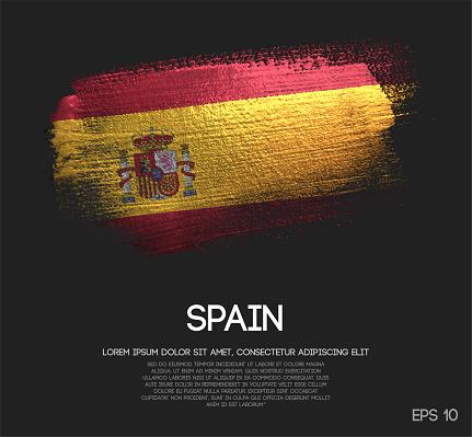 Spain Flag Made of Glitter Sparkle Brush Paint Vector