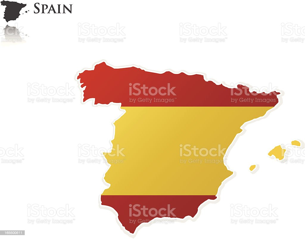 Spain Flag - Map royalty-free stock vector art