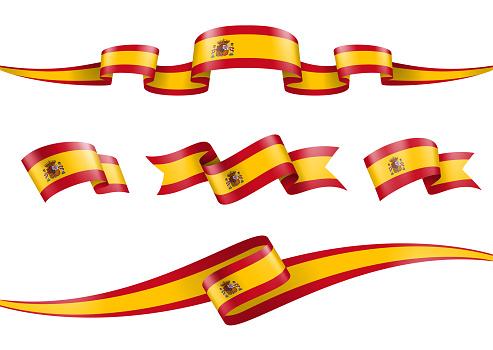 Spain Flag Ribbon Set - Vector Stock Illustration