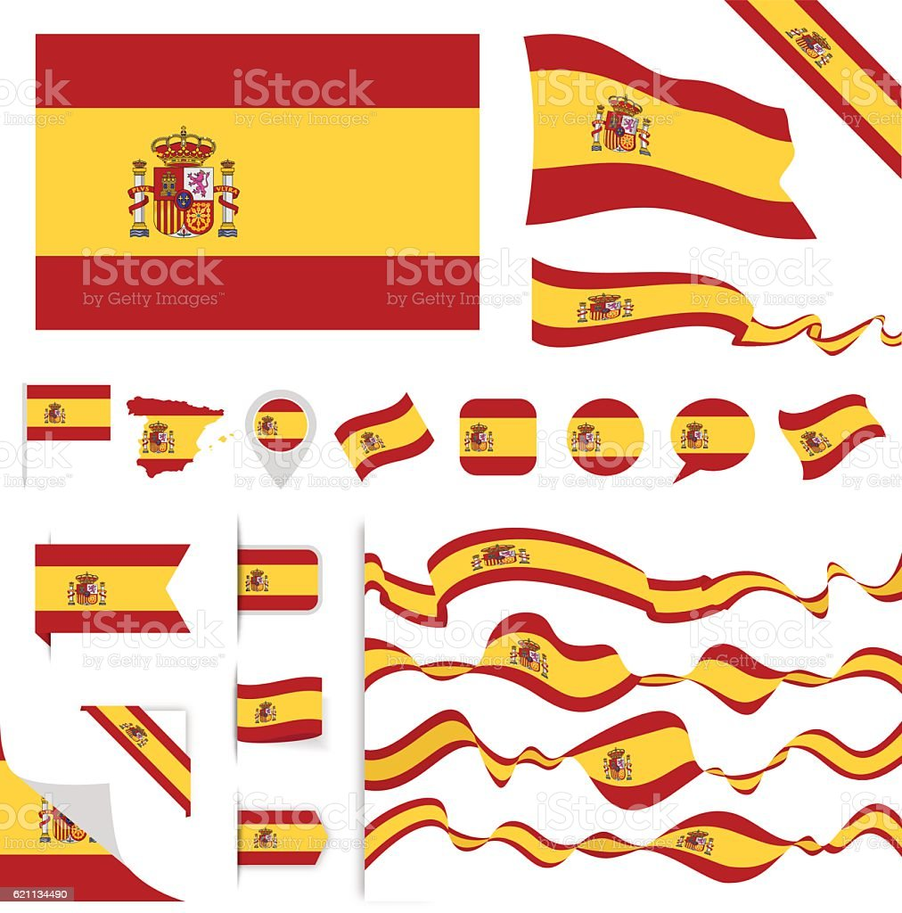 Spain Flag Set vector art illustration
