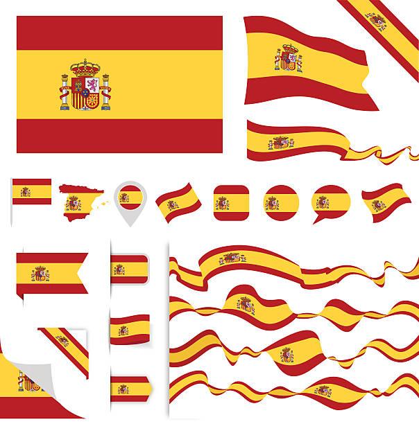 Spain Flag Set - Illustration vectorielle