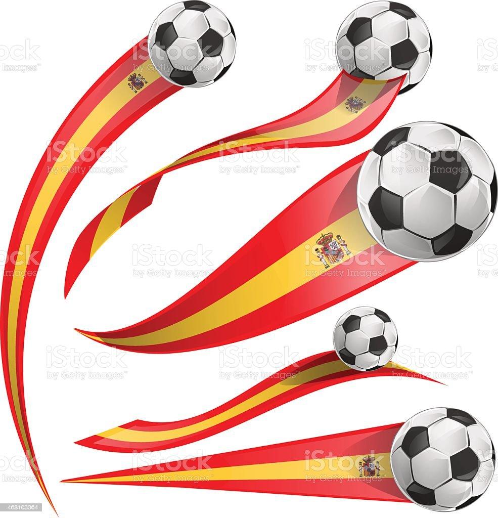 spain  flag set with soccer ball vector art illustration