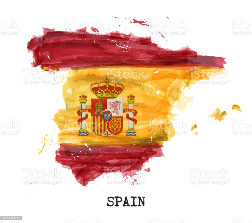 Map Of Spain 1492.Spain Flag Watercolor Painting Design Country Map Shape Sports Team