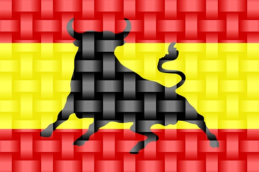 Spain Flag with an Osborne bull