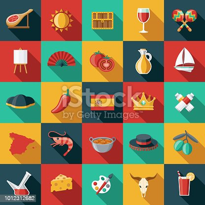 A set of Spanish themed icon sets. File is built in the CMYK color space for optimal printing, and can easily be converted to RGB. Color swatches are global for quick and easy color changes throughout the entire set of icons.