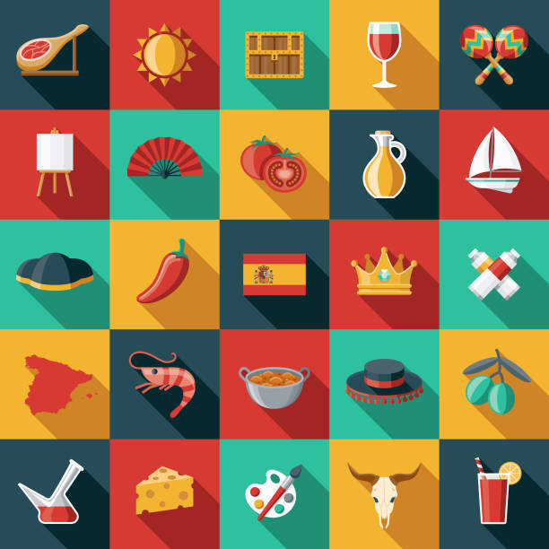 stockillustraties, clipart, cartoons en iconen met spanje platte ontwerp icon set - paella