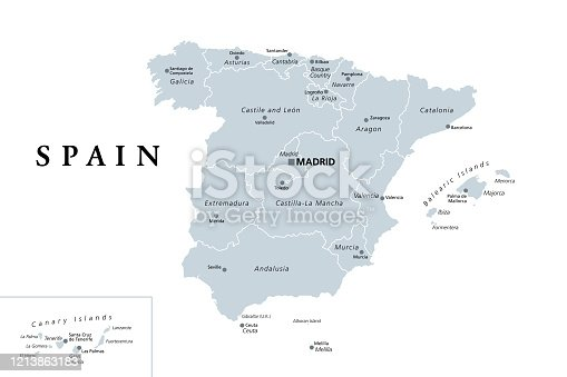 istock Spain, gray political map with administrative divisions 1213863183