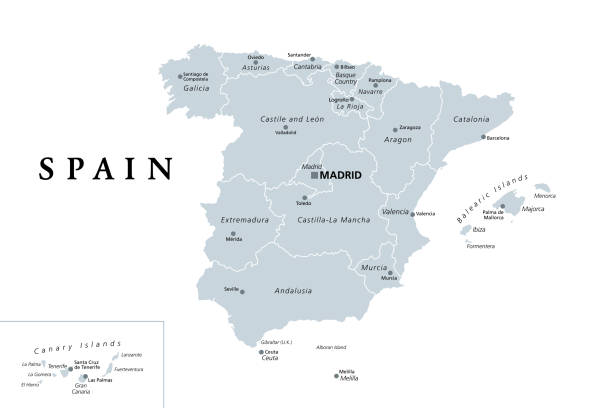 Spain, gray political map with administrative divisions vector art illustration