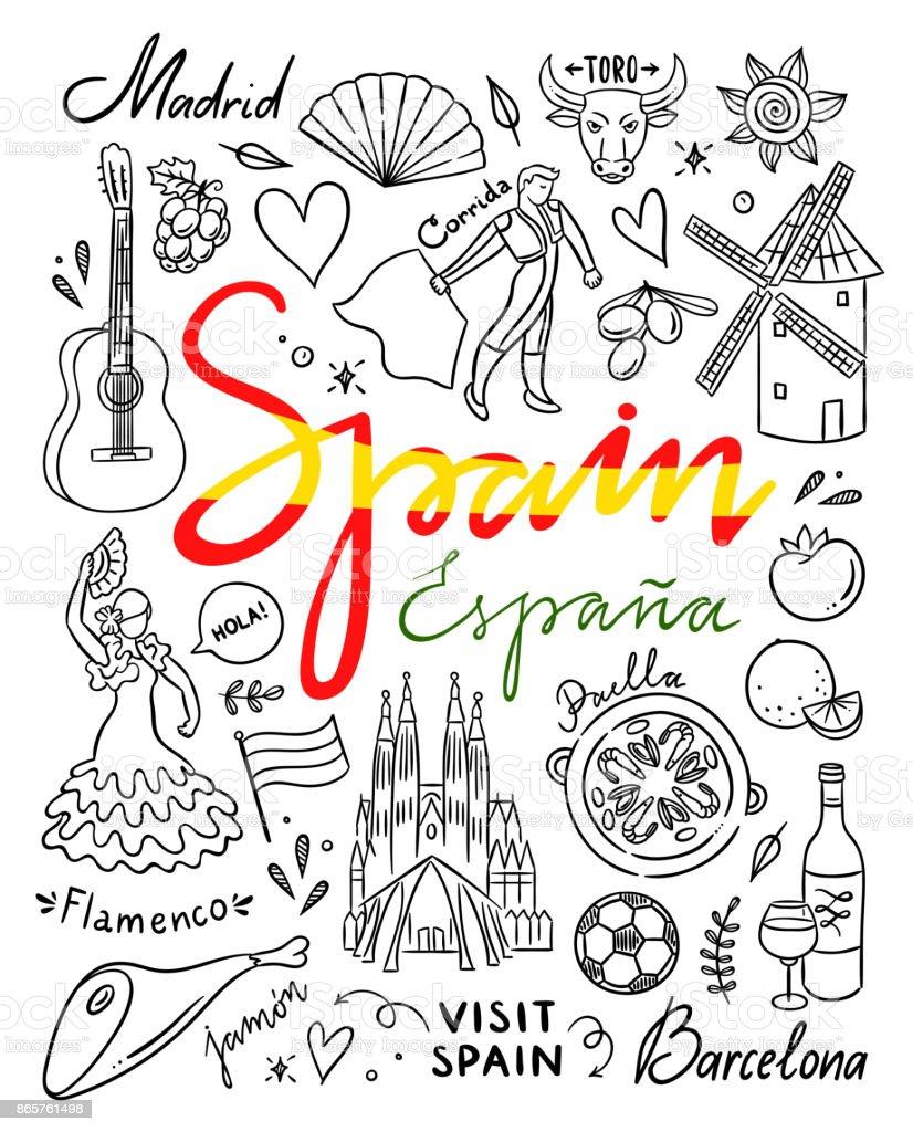 Espanha passa ilustrações desenhadas. Visitar a Espanha vetor itinerante doodles - ilustração de arte em vetor