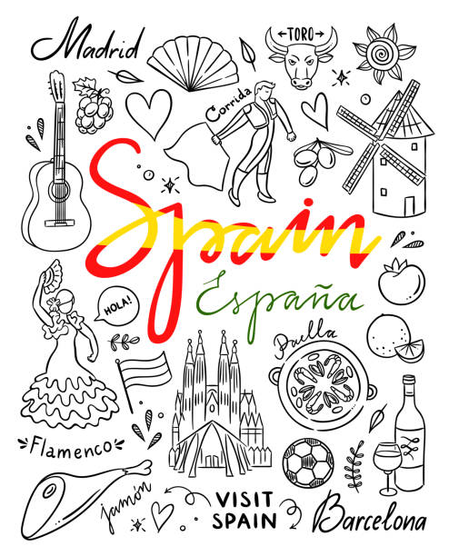 Spain hand drawn illustrations. Visit Spain traveling vector doodles vector art illustration