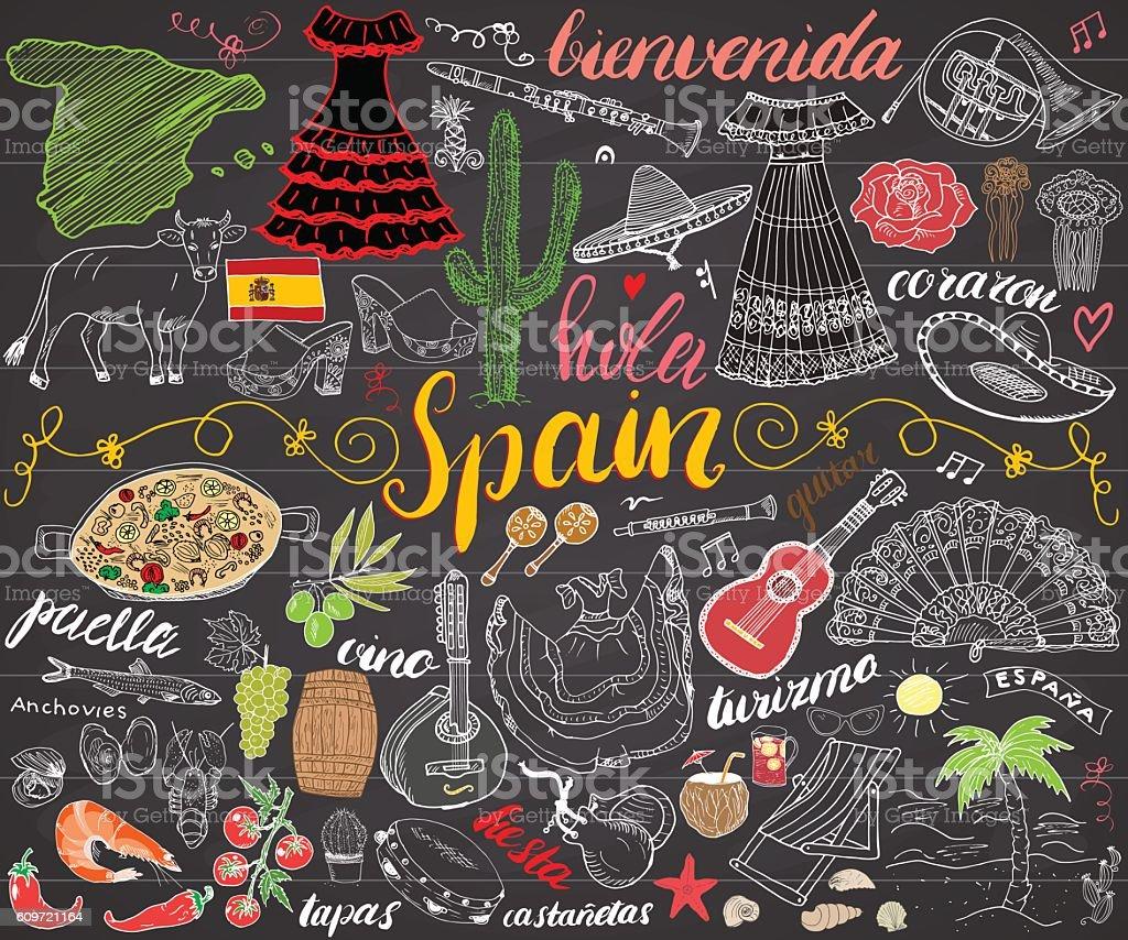 Spain hand drawn sketch set vector illustration chalkboard vector art illustration