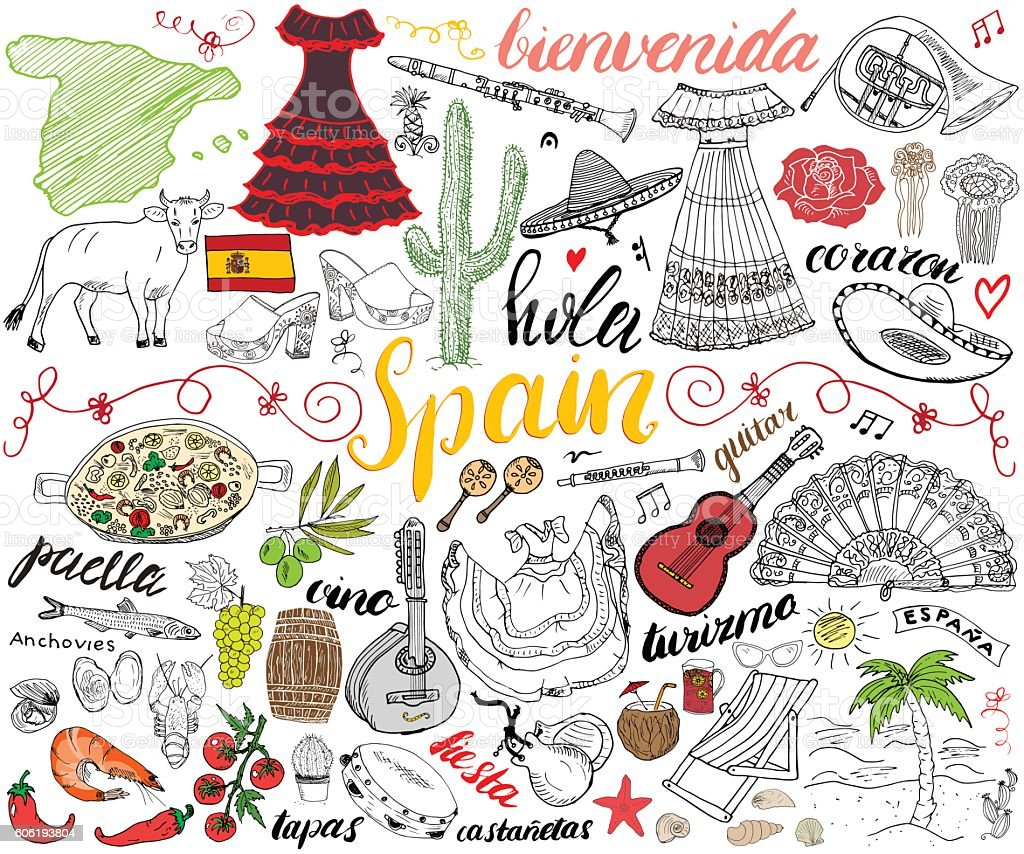 Spain hand drawn sketch set vector illustration ベクターアートイラスト